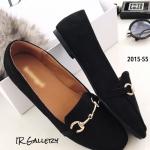 รองเท้าคัทชูส้นแบนสีดำ หนังกลับ สไตล์gucci (สีดำ )