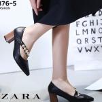 รองเท้าคัทชูส้นตันสีดำ หัวแหลม สไตล์ ZARA (สีดำ )