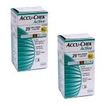 แผ่นตรวจน้ำตาล ACCU-CHEK Active แบบ 25 ชิ้น จำนวน 2 กล่อง