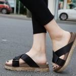 รองเท้าแตะเพื่อสุขภาพสีดำ สายคาผ้าซาติน พื้นยางนิ่ม (สีดำ )