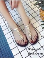 รองเท้าแตะรัดข้อ หนังวิ้งนิ่ม Style Ysl (สีทอง )