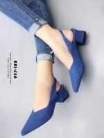 รองเท้าส้นตันรัดส้นสีน้ำเงิน หัวแหลม ZARA top basic (สีน้ำเงิน )