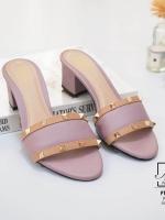 รองเท้าส้นตันเปิดส้นสีชมพู style แบรนด์ valentino (สีชมพู )