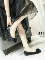 รองเท้าคัทชูเสริมส้นสีดำ หัวกลม พื้นบุนม (สีดำ )