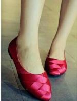 รองเท้าคัทชูส้นเตี้ย ผ้าลายเส้น สานหน้า (สีบานเย็น )