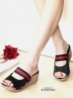 รองเท้าส้นเตารีด หนังกลิตเตอร์ สีทูโทน (สีดำ )