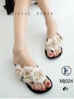 รองเท้าแตะผู้หญิงสีดำ แบบคีบ ยางนิ่ม แต่งดอกไม้ Style Melissa (สีดำ )