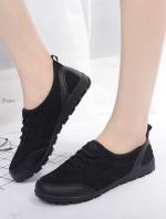 รองเท้าผ้าใบผู้หญิง เพื่อสุขภาพ แบบสวม น้ำหนักเบา STYLE SKECHER (สีดำ )
