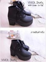 รองเท้าบูทสั้น ส้นสูง แบบเชือกผูก (สีดำ )