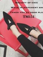 รองเท้าคัทชู ส้นเตี้ย หัวแหลม แนววินเทจ (สีดำ )