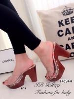 รองเท้าส้นสูง แบบสวม สายคาดแบบใส ลายกุชชี่ (สีน้ำตาล )