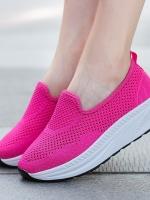 รองเท้าผ้าใบเสริมส้นสีแดง พื้นสุขภาพ มีรูระบายอากาศ (สีแดง )