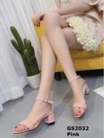 รองเท้าส้นตันรัดส้นสีชมพู ผ้าสักหลาด สไตล์เรียบหรู (สีชมพู )