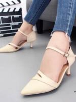 รองเท้าส้นเข็มหัวแหลมสีครีม รัดส้น เปิดด้านข้าง (สีครีม )