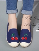 รองเท้าผ้าใบผู้หญิง ขอบเชือกปอ สไตล์โบฮีเมี่ยน (สีกรม )