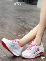 รองเท้าผ้าใบเสริมส้น ผ้าตาข่าย (สีขาว/ชมพู )