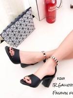 รองเท้าส้นตันรัดข้อสีดำ หนังซัฟฟิโน ส้นเหลี่ยม (สีดำ )