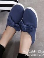 รองเท้าผ้าใบผู้หญิง สไตล์หวาน (สีเงิน )