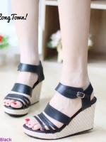 รองเท้าส้นเตารีดรัดส้นสีดำ หนังนิ่ม ทรงสวย (สีดำ )