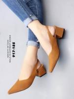รองเท้าส้นตันรัดส้นสีน้ำตาล หัวแหลม ZARA top basic (สีน้ำตาล )