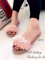รองเท้าแตะ ลำลอง แบบสวม แต่งภู่ (สีชมพู )