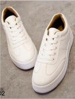 รองเท้าผ้าใบ แบบเชือก ด้านในบุฟองน้ำ งานเริ่ด (สีขาว )