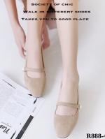 รองเท้าคัทชูผู้หญิง หัวมน ส้นเหลี่ยม (สีครีม )