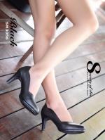รองเท้าคัทชู ส้นสูง ขอบหยัก หนังนิ่ม หน้าวี (สีดำ )