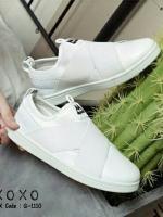 รองเท้าผ้าใบแฟชั่นสีขาว แบบสวม หน้ายางไขว้ ผ้าแคนวาส (สีขาว )