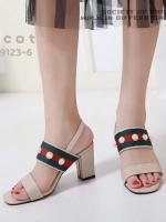รองเท้าส้นตันรัดส้นสีแอปริคอท สไตล์แบรนด์ GUCCI (สีแอปริคอท )