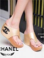 รองเท้าแตะส้นเตารีด ทรงคีบ (สีทอง )