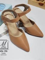 รองเท้าคัทชูรัดข้อสีน้ำตาล หัวแหลม เปิดส้น (สีแทน )
