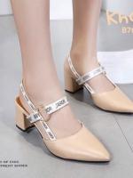 รองเท้าส้นตันรัดส้นสีครีม New Collection Christian Dior 2017 (สีครีม )