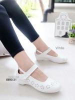 รองเท้าคัทชู พยาบาล น่ารัก สายรัดเมจิกเทป (สีขาว )