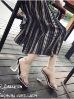 รองเท้าส้นตันรัดข้อสีเงิน เมทัลลิคใส ส้นอะคริลิคใส (สีเงิน )