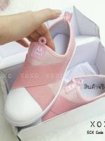 รองเท้าผ้าใบแฟชั่นสีชมพู แบบสวม หน้ายางไขว้ ผ้าแคนวาส (สีชมพู )