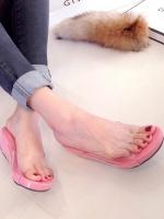 รองเท้าส้นเตารีดเปิดส้นสีชมพู สไตล์ลำลอง พียูใสนิ่มไม่บาดเท้า (สีชมพู )