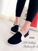 รองเท้าผ้าใบ ลำลอง แบบสวม สไตล์FredPerry (สีดำ )