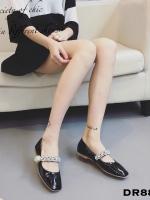 รองเท้าคัทชูส้นเตี้ย หัวตัด สายคาดเพชร (สีดำ )