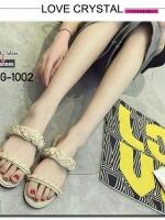รองเท้าแตะผู้หญิงสีแอปริคอท เปิดส้น สายคาดแบบโซ่ (สีแอปริคอท )