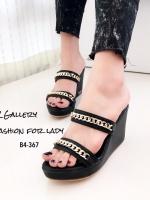 รองเท้าส้นเตารีดสีดำ เปิดส้น Style Givenchy (สีดำ )