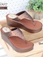 รองเท้าส้นเตารีดเปิดส้นสีน้ำตาล แบบคีบ สไตล์ Bao Bao (สีน้ำตาล )