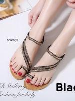 รองเท้าแตะ ส้นแบน รัดส้น แต่งอะไหล่เพชรฟรุ้งฟริ้ง (สีดำ )