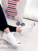 รองเท้าผ้าใบ แบบผูกเชือก สไตล์Jack-purcell (สีขาว )