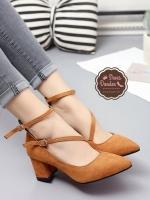 รองเท้าคัทชูส้นสูง รัดข้อ ทรงสุภาพ (สีน้ำตาล )