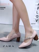 รองเท้าคัทชูส้นตันสีชมพู หัวแหลม สไตล์ ZARA (สีชมพู )