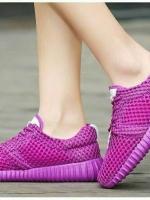 รองเท้าผ้าใบเสริมส้นสีแดง ผ้าตาข่าย น้ำหนักเบา (สีแดง )