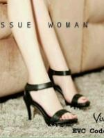 รองเท้าส้นสูงแบบรัดข้อ สไตล์YSL (สีดำ )