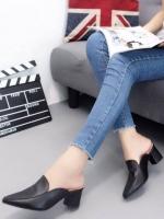 รองเท้าส้นตันหัวแหลมสีดำ เปิดส้น หนังนิ่ม น้ำหนักเบา (สีดำ )