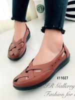 รองเท้าคัทชู แนววินเทจ หน้าไขว้ (สีแทน )